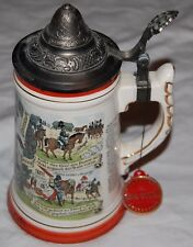 Vintage Royal London German Music Box Beer Stein Lidded Mug Red White Mayrhofer