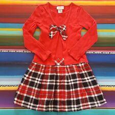 Girls Dress 8 Plaid Skirt Ribbed Top School Uniform Holiday Red Black White XLNT
