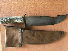 Antique American Bowie Knife In Original Leather Sneath