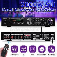 2000W HiFi Verstärker bluetooth Stereo 5 Kanal RCA LED FM PA Karaoke USB 2Mic DE
