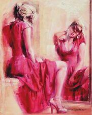 Talantbek Chekirov: The Mirror Leinwand-Bild 24x30 Wandbild Mädchen Frau