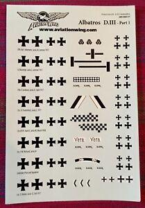 Albatros D.III Part 1 (8) Ace Custom WW1 Decals (1 set) Wings of Glory / War