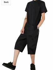Hot Mens Coveralls Jumpsuit Overalls Casual Black Zipper Short Sleeve Work Pants