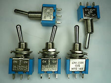 SM 5 Pcs Toggle Switch SPDT on/on Centre off 3-position Color blue Leda, MTS103E