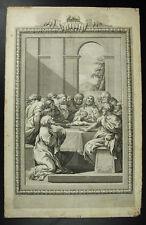 Antique print the Lord's Supper la Cène scène religieuse 1750 ceci est ma chaire