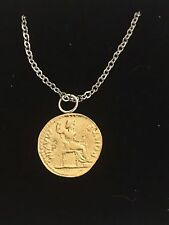 "Aureus Of Tiberius Coin WC58 Gold Pewter On 24"" Silver Plated Chain Necklace"