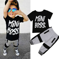 2PCS Set Toddler Kids Boys T-shirt Tops Harem Pants Summer Outfits Age 1-6Y