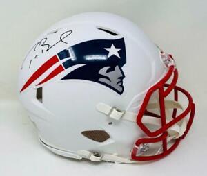TOM BRADY Signed (In Black) Patriots White Matte Authentic Speed Helmet FANATICS