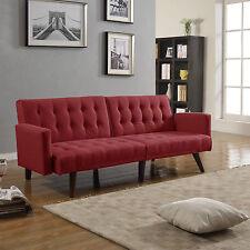 Modern Splitback Red Linen Sleeper Futon Tufted Living Room Sofa