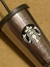 Starbucks Silver Gray Glitter Cold Cup 16oz Tumbler Holiday Collection 2017 RARE