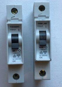 SIEMENS 5SX21 B6  B20 SINGLE POLE MCB CIRCUIT BREAKERS