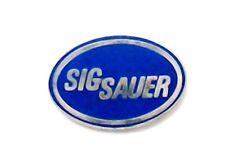 "SIG SAUER PINS (3) ~ BLUE on CHROME ~ 1"" x 1/2"" OVAL ~ WEAR & SHARE"