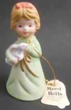 Jasco Bisque Porcelain Merri Bells 1978 Girl with Bunny Rabbit Euc Bell