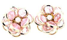 Gold and pink crystal 3D lotus / rose flower stud earrings