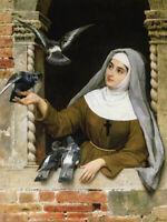 Feeding the Pigeons Eugene de Blaas Religious Home Decor Print CANVAS Giclee Art