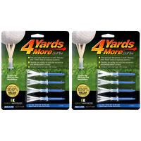 "2 PACKS of 4 Yards More Golf Tees 3 1/4""  - 8 Blue Driver Plastic Tees"