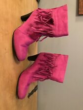Ladies Pink Tassel Boots 7