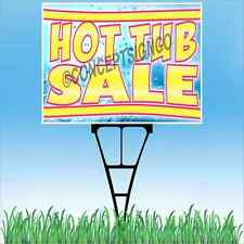 "18""x24"" HOT TUB SALE Outdoor Yard Sign & Stake Sidewalk Lawn Spas Jacuzzi Sales"