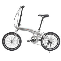 "20"" Folding Front Suspension Mountain Bike Shimano 6 Speed Sport Bicycles Silver"