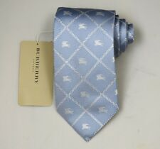 "NEW Burberry BLUE Check Mans 100% Silk Tie Authentic Italy Made 3.5"" 035066"