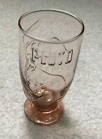 Rare Vintage Disney Pluto Drinking Glass Amber Embossed Glasses Juice Milk