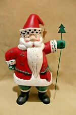 Vintage Midwest Importers Heartland Hearts Santa Claus Figure with Star & Tree