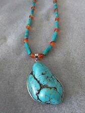 SETS / Necklace & Bracelet Turquoise & Fire Orange Beads / Handcrafted Jewelry