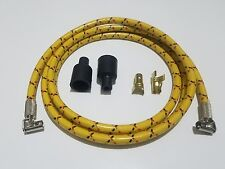 "40"" Retro Rajah VINTAGE BRAIDED CLOTH Yellow BLACK RD SPARK PLUG WIRE 7MM BOBBER"