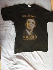 Presidente BARACCA Obama Ritratto BORCHIE ORO foto T Shirt Top Taglia Large