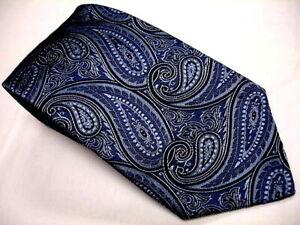 BANANA REPUBLIC All Woven Blue W/ Black Paisley Design Silk Made Italy EXCELLENT