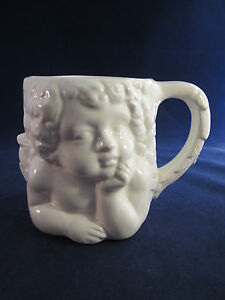 Vintage World Bazaars Ceramic Thoughtful Cherub Figural Mug Planter 16 oz