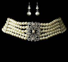 Elegantes Perlen Set Hochzeit Braut Schmuckset Collier Kette Ohrstecker Ohrringe