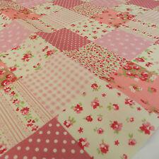 """Demi x mètre belle patchwork effet tissu rose shabby chic 100% coton 45"""""""
