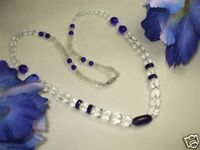 Vintage Blue Clear Faceted Glass Necklace CAT RESCUE
