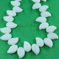 25 White Czech Glass Eucalyptus Leaves Beads 12/9mm