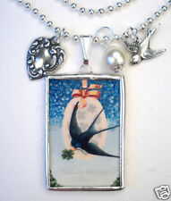 Happy Birthday Necklace Bluebird Violet Jewelry Reversible Vintage Charm Pendant