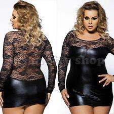 Plus Size Black Faux Leather Wet Look Round Neck Lace Mini Dress 12  - 24