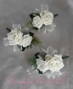 IVORY Wedding Bridal Ladies Guests Corsage With Diamantes Crystal diamante