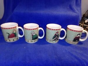 Oneida Holiday Cats Fiddlestix Lot of 4 Coffee Tea Mug Set