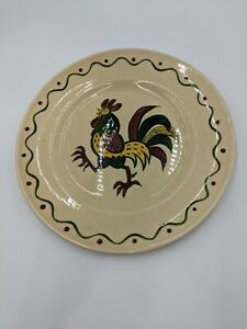 """Metlox Poppy Trail California Provincial Red/Green Rooster 10"""" Dinner Plate (7)"""