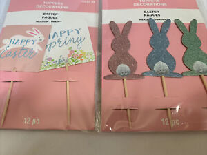 BUNNY RABBIT & SPRING CUPCAKE TOPPERS 24 PIECES SPARKLY/SHIMMERY MULTIPLE COLORS
