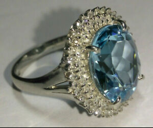 Solid heavy platinum natural topaz and diamond ring 7.33 grams - sz 5