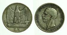 pci0443) Regno Vittorio Emanuele III Lire 5 Aquilino 1928 *