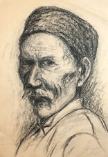 1963 Charcoal drawing old man portrait signed