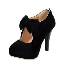 Ladies Suede PUMPS Evening Ribbon Party Pretty Womens Shoes Black UK 11 ( Size Tag CN 47)