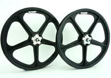 "BLACK Skyway BMX 20"" TUFF WHEELS II SET with ALLOY FLANGES Mags Freewheel USA"