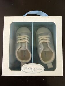Ralph Lauren Layette Sag Harbour HI 27057 Silver Suede Size 3 in Gift RL Box NEW