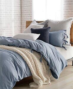 DKNY PURE Stripe 100% Cotton Duvet Cover - FULL / QUEEN - Blue