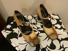 VINTAGE PRADA LEATHER MARY JANE PUMPS SIZE 40 ~ MADE IN ITALY