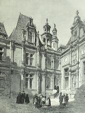 Vue de la Cour de la Bourse à Caen - Gravure originale XIXème